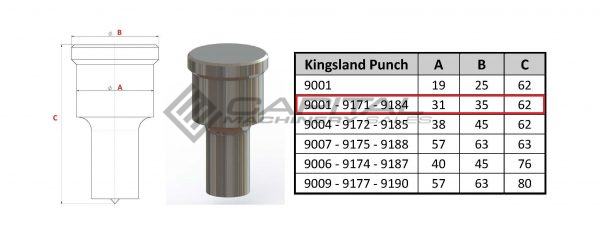 9001 Round Punch For Kingsland Iron Worker 2