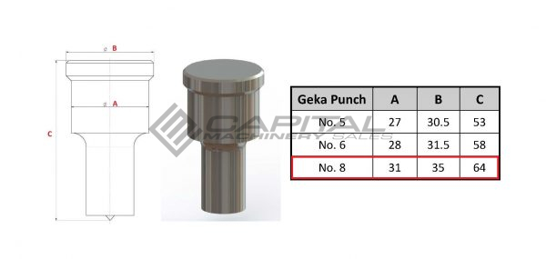 No. 8 Round Punch For Geka Iron Worker 3