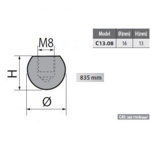 c13 08 rolleri radius top tool 8mm radius
