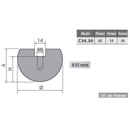 c34 30 rolleri radius top tool 30mm radius