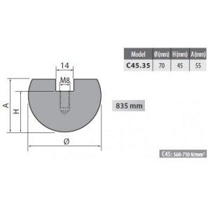 c45 35 rolleri radius top tool 35mm radius