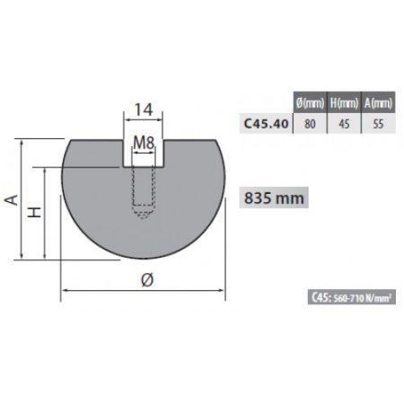 c45 40 rolleri radius top tool 40mm radius