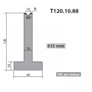 t120 10 88 rolleri single vee die 10mm vee 88 degree 120mm h