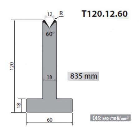 T120 12 60 Rolleri Single Vee Die 12mm Vee 60 Degree 120mm H