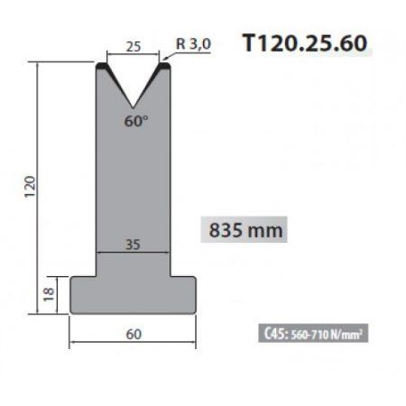 t120 25 60 rolleri single vee die 25mm vee 60 degree 120mm h