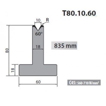 t80 10 60 rolleri single vee die 10mm vee 60 degree 80mm h