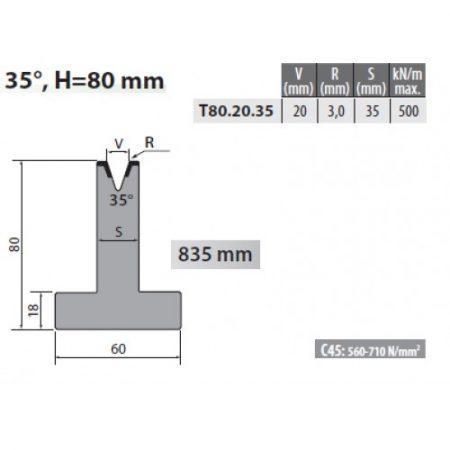 t80 20 35 rolleri single vee die 20mm vee 35 degree 80mm h