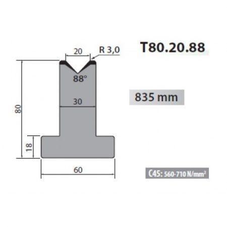 T80 20 88 Rolleri Single Vee Die 20mm Vee 88 Degree 80mm H 2