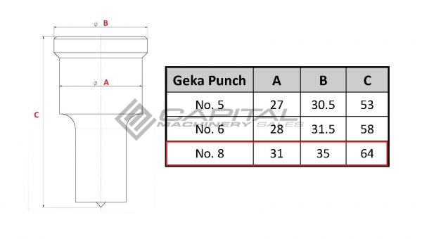 No. 8 Elongated Punch For Geka Iron Worker 2
