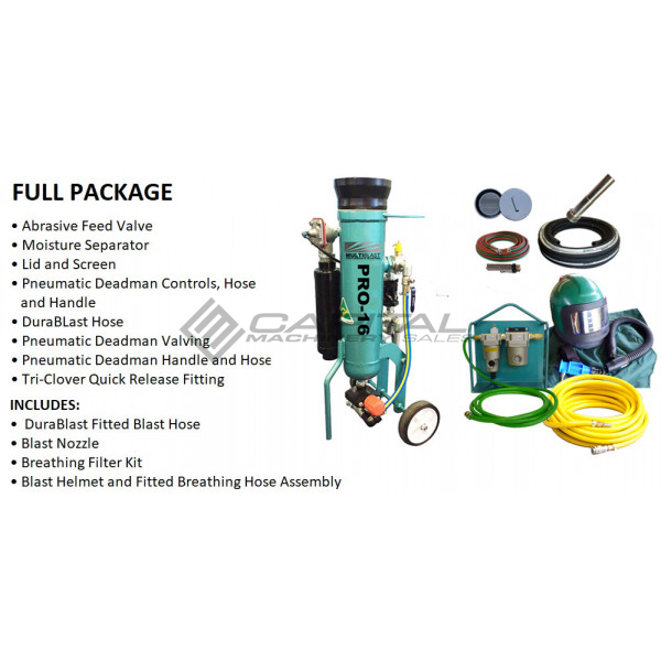 Multiblast Pro16 7 Litre Blasting Pot Machine Full Package Features