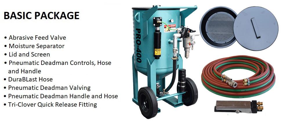 Multiblast Pro400 174 Litre Blasting Pot Equipment Basic Package Features