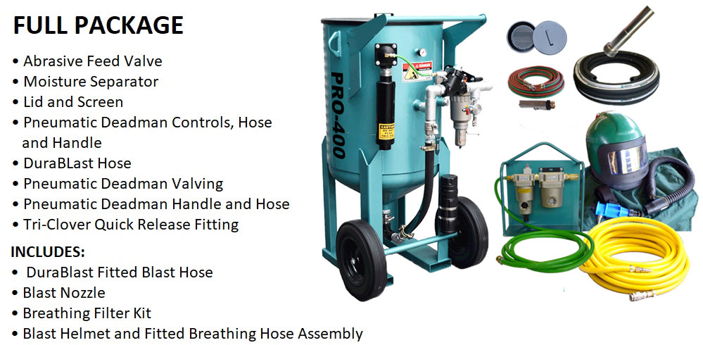 Multiblast Pro400 174 Litre Blasting Pot Equipment Full Package Features