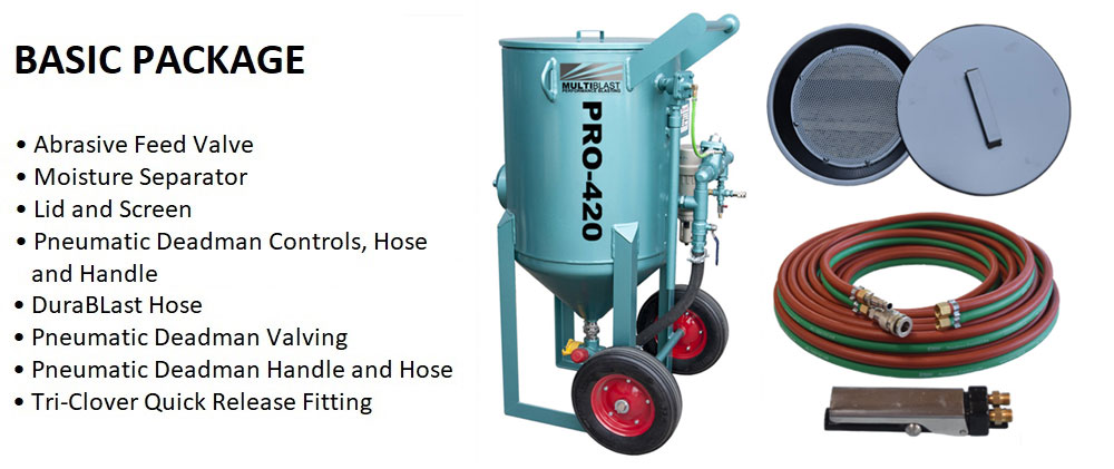 Multiblast Pro420 185 Litre Blasting Pot Machine Basic Package Features