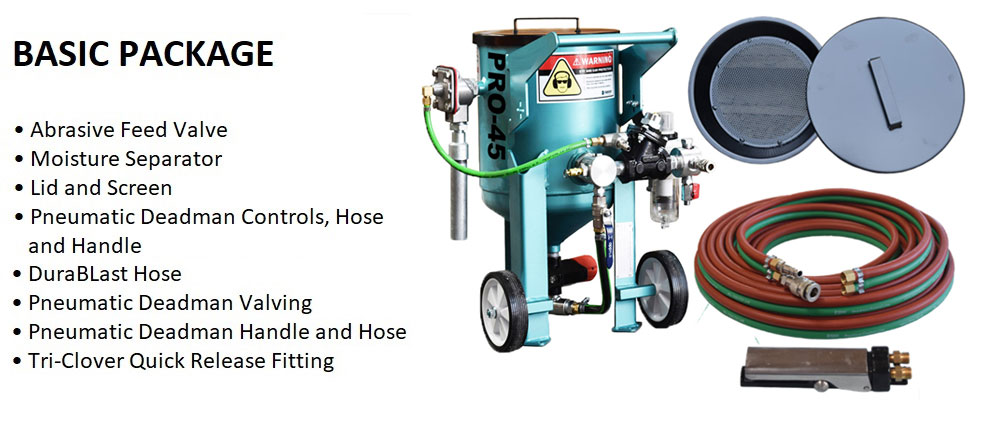 Multiblast Pro45 20 Litre Sandblasting Pot Machine Basic Package Features