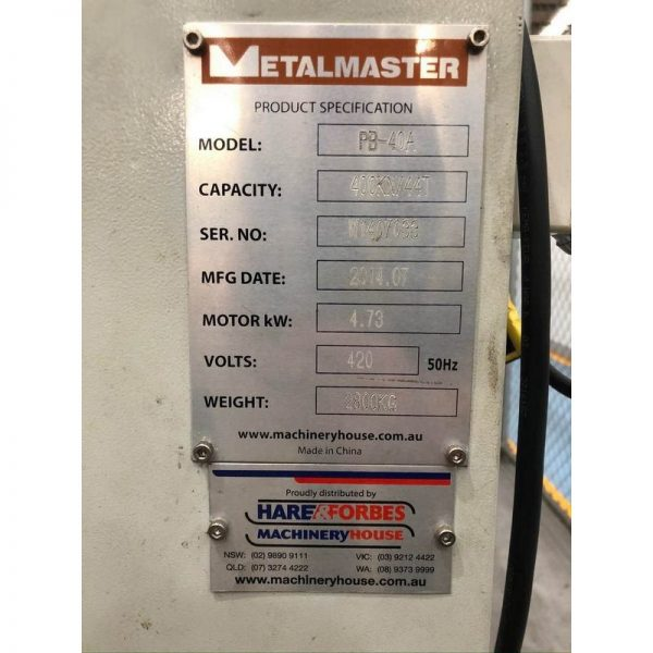 Used Hydraulic Pressbrake For Sale Australia Metalmaster Pb 40a