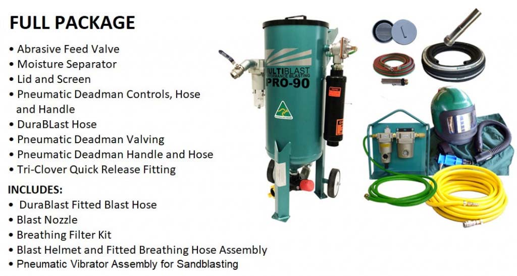 Multiblast Pro 90 40 Litre Sandblasting Pot Machine With Soda Blasting Kit 1